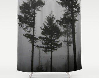 Fabric Shower Curtain - Foggy Trees - Black and White Gray - Decorative Shower Curtain - 71x74 inches