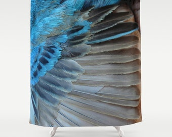 Fabric Shower Curtain - Bird Feather - Bird Wing - Blue Feather - Decorative Shower Curtain - 71x74 inches