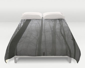 Duvet Cover - Comforter Cover - Foggy Trees Forest - Gray Black - Nature Bedding - King Queen Full Twin