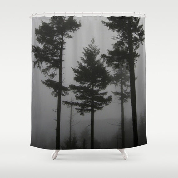 Fabric Shower Curtain - Foggy Trees - Black and White Gray ...