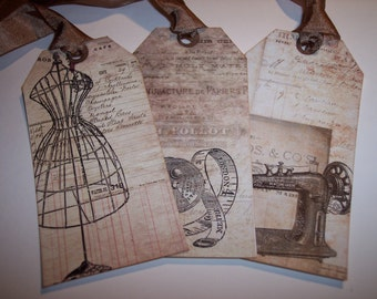 Beautiful Vintage Sewing Ephemera Tags set of 6
