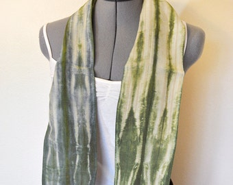 Green Cotton Linen SCARF - Sage Green Tan Hand Dyed Tie Dye Hand Made Linen Cotton Neck or Head Scarf #33 - 5 x 46""