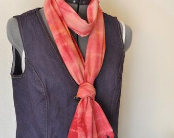 "Red Orange Dyed Cotton SCARF - Scarlet Gold Tan Hand Dyed Tie Dye Hand Made Shibori Cotton Skinny Scarf #82  - 9 x 74"""
