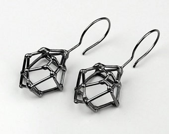 Crystal Structure Oxidized Sterling Silver Earrings