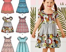 Girls' Easy Dress Pattern, Peasant Dress Pattern, Little Girls' Pullover Dress Pattern, Sz 3 to 8, Simplicity Sewing Pattern 2377