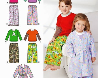 Childrens' Pajama Pattern, Child's Robe Pattern, Toddlers PJs and Robe Pattern, Baby PJs and Robe Pattern,Simplicity Sewing Pattern 1573