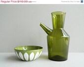 SALE 20% OFF Iittala Finland Green Glass Decanter Carafe Pitcher