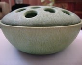 Vintage Ceramic Flower Frog Dusty Green