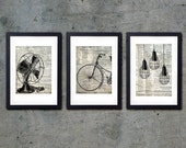 Set of 3 Industrial Fine Art Print - Bicycle Fan and Lights - Fine Art Print 8x10 (A4)