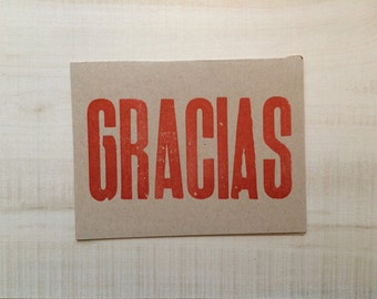 Gracias / Thank you Letterpress Card Greeting Card, Spanish Card, Blank Note Card, Spanish Language, Funny Birthday Card, Pun Card
