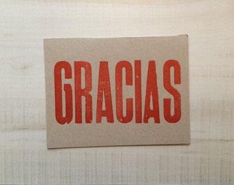 Gracias / Thank you Letterpress Card