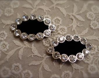 Vintage Rhinestone Shoe Clips - Fur Clips - Black Velvet - Wedding - Bridal -Mid Century Accessories