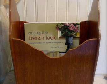 Wood Magazine Tote - Original Wood - Handled Tote - French Farmhouse - Country Cottage Wood Rack - Home Decor