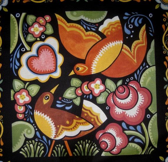 Love Birds Fabric Quilt Block