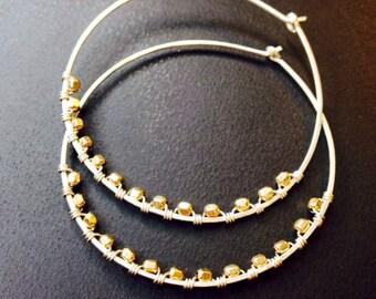 Mixed Metal Hoop Earrings, mixed metal jewelry