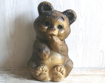 Piggy Bank, Vintage Chalkware Brown Bear Piggy Bank Coin Bank
