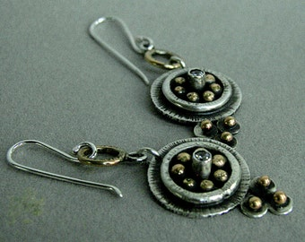 Sterling and brass handmade, modern-tribal, dangling earrings with tube-set cubic zirconia