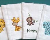 Alli Cat Creations Boutique Custom Set of Burp Cloths Boy Jungle Elephant Monkey Lion Giraffe