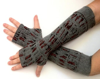 Sale gloves Fingerless long  gloves  with pattern, cotton, vintage, stempunk