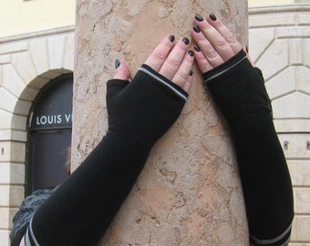 Long black fingerless gloves with striped cuffs