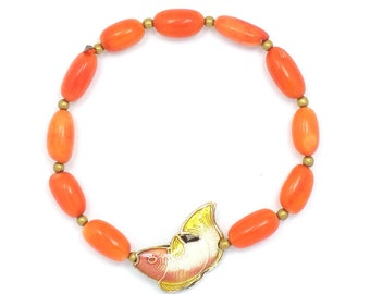 Coral Bracelet with Salmon & Yellow Fish