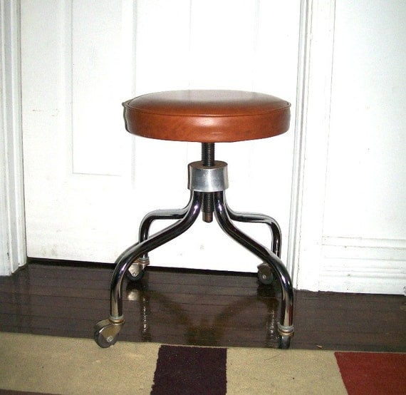 Vintage 1960 S Rolling Stool Swivel Brown Vinyl Seat