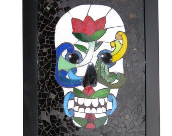 Day of The Dead Sugar Skull Rosemaling Art Glass Mosaic