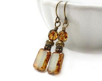 Off-White Ivory Earrings - Picasso Rectangle Glass - Creme Ecru Drop Earrings - Tortoise Shell - Short Yoga Earrings - Free Shipping