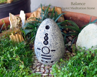 Balance - Handcrafted Taoist Meditation Altar Stone - Handpainted Clay Altar Piece - Planter and Terrarium Decor - Zen Garden