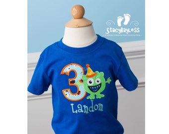 Little Monster Birthday Shirt - Personalized - OR Onesie - choose your Font Fabric AND Colors