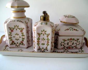 N'Orleans Pink Floral Porcelain Dresser Set Made In Japan Estate Find