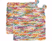 Pot Holder Knit Potholder Trivet Hot Pad Rainbow Confetti - SticksNStonesGifts