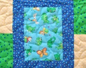 Baby Quilt for Boy, Handmade Baby Quilt Blanket, Quilted Patchwork Baby Quilt, Frog Nursery Baby Bedding