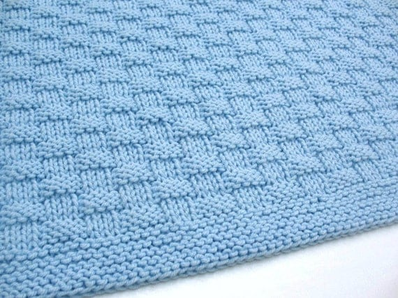 Blue Baby Blanket Hand Knit Basketweave Baby Boy Blanket Handmade Baby Gift Idea