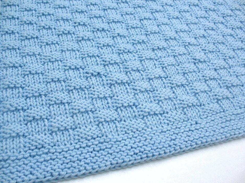 Blue Baby Blanket Hand Knit Basketweave Baby Boy Blanket