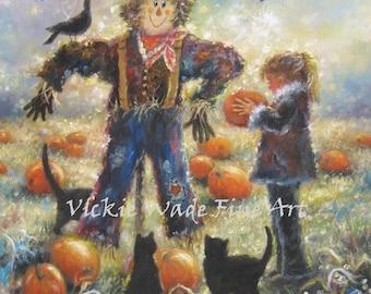 Pumpkin Patch Art Print scarecrow autumn black cats halloween art paintings fall farm paintings, Vickie Wade Art