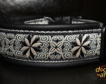 Handmade Easy Release Buckle Leather Dog Collar PINWHEEL ZINNIA by dogs-art in black/silver/pinwheel zinnia black