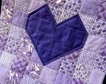 Purple Hearts Table Runner/ Valentines/February