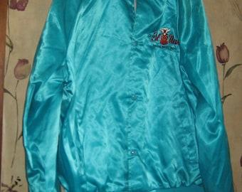 Vintage  hipster  1970s CLUB Cal Reno  Nevada  Aqua Shiny Nylon Sport Jacket by West Ark Large