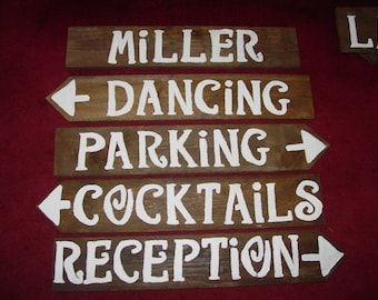 Wedding Signs LARGE 5 painted wood sign 1 Tall Stake directional decorations country name signage reception baby bridal shower ceremony