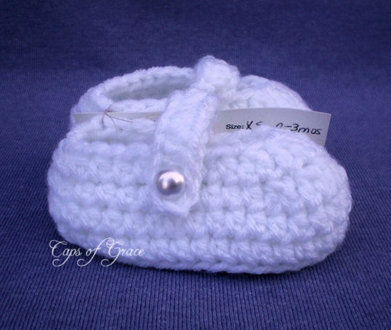 3 6 Months Baby Mary Jane Shoes White Crochet by CapsofGrace