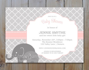 Elephant Baby Shower Printable Invitation / Pink and Grey / Instant Download / INVITATION TEMPLATE / #12107