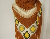 Crochet Motifs Shawl in Mustard color