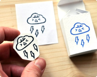 Thunderous weather hand carved rubber stamp