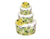Wedding Card Box - HAND PAINTED Floral Hat Boxes, 3 Tiers, Green Orchids, Purple Lilac, Yellow, White Roses - Table Decoration Centerpiece