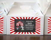 10 x Large Chalkboard Circus gable favor boxes - includes free label printables