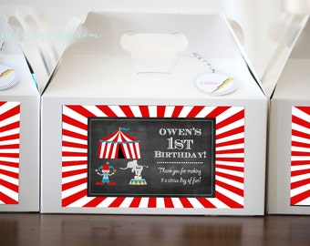CIRCUS theme PRINTABLE label, birthday parties