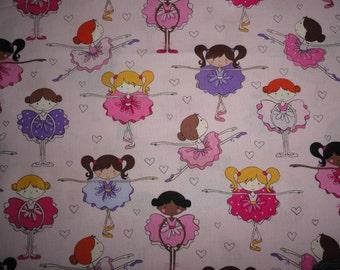 Princess Ballerina Fabric Cotton Pink Hearts Ballet Dancer Little girl Tutu quilting sewing
