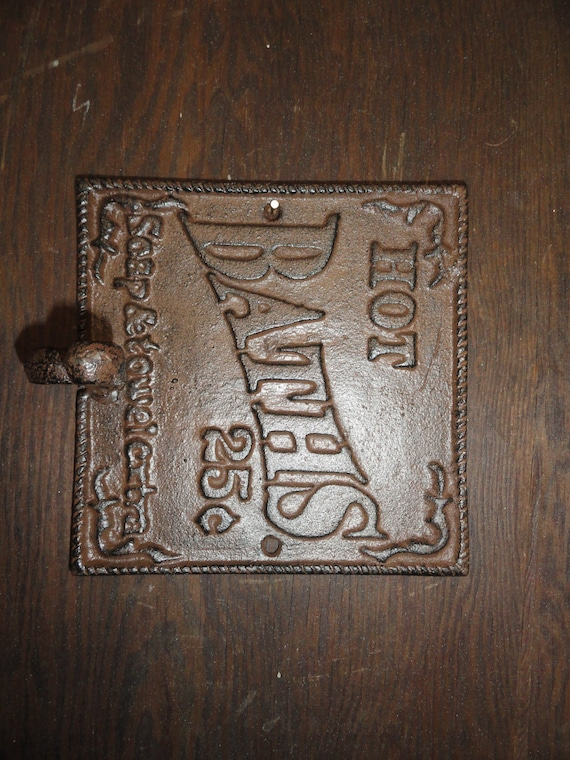 Antique Style Cast Iron Towel Hook And Sign Nostalgia Bathroom Sign, Wall  Hooks, Bathroom Decor, Soap And Towels Extra, Country And Western From ...