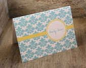 Damask Personalized Stationery - Script Personalized Stationary Set of 12 Thank You Notes Custom Notecards